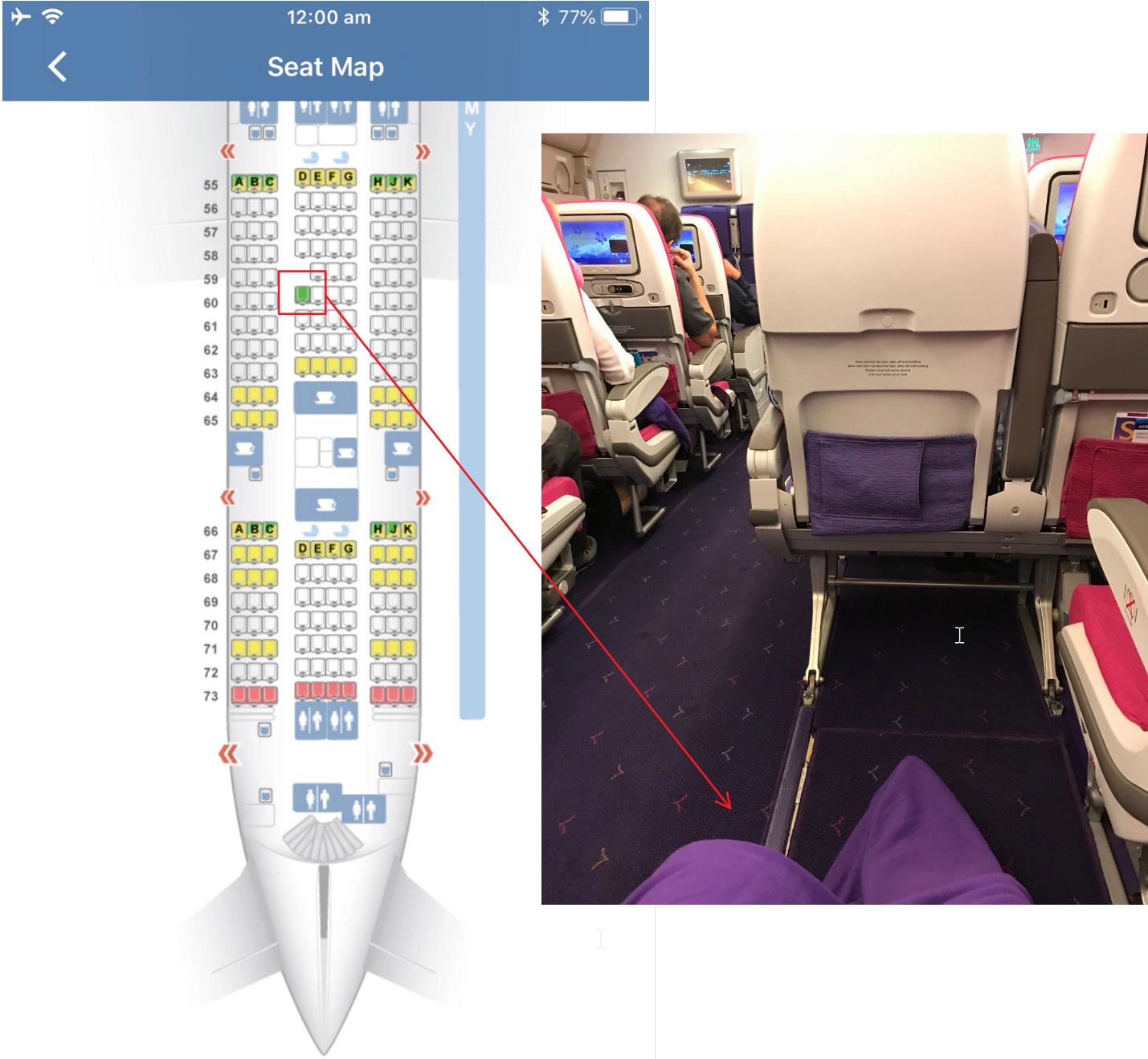 Plane seat and map