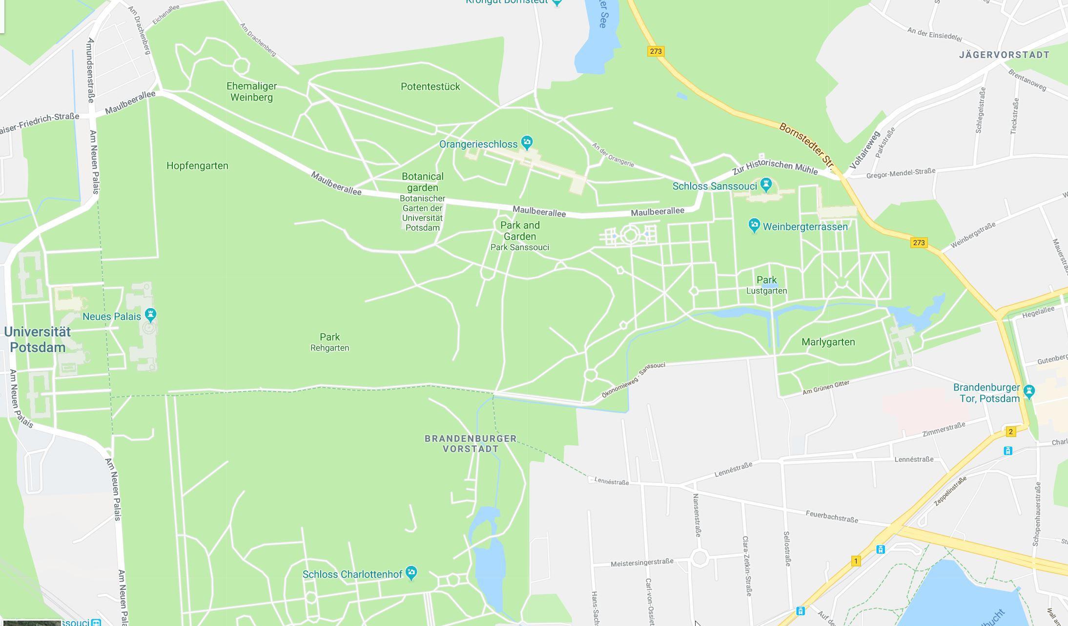 MAP UNESCO site Potsdam